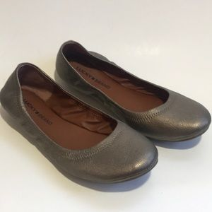 Lucky Brand pewter Emme leather flat